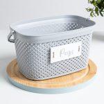 Grey Knitted Peg Basket