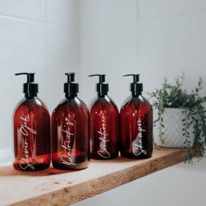 Set of 4 Luxury Amber Pump Bottles with White Vinyl – DYO