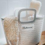 Light Grey Knitted 'Bathroom' Basket