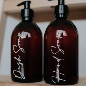 Set of 2 Dish Soap/Hand Soap Luxury Amber Pump Bottles