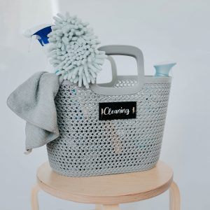 Grey Knitted 'Cleaning' Basket