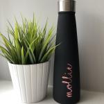 Slimline Black and Rose Gold Personalised Water Bottle
