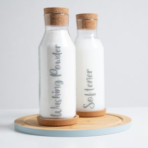 1L Glass Bottle with Cork Tray