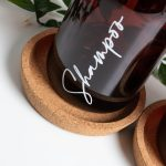 Set of 4 Luxury Amber Pump Bottles With Cork Trays