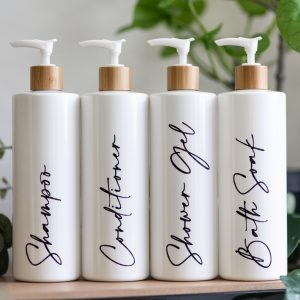4 Luxury Bamboo & White Pump Bottles – DYO
