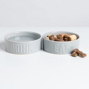 Set of 2 Grey Ceramic Dog Bowls