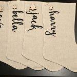 Personalised Script Linen Christmas Stocking