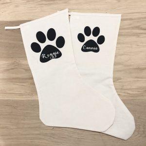 Personalised Paw Print Linen Christmas Stocking