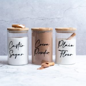Set of 3 1L Glass Storage Jar with Wooden Lid