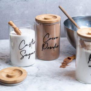 1L Glass Storage Jar With Wooden Lid – DYO