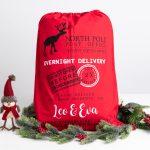 Red Personalised Reindeer Christmas Santa Sack