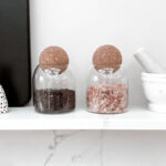 Salt And Pepper Glass Jar Set With Cork Ball Lid