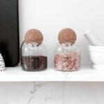0.8L (MED SIZE) Salt And Pepper Glass Jar Set With Cork Ball Lid