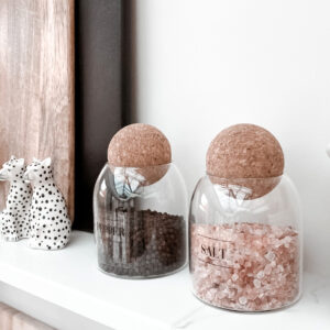 0.8L (MED SIZE) Salt And Pepper Glass Jar Set With Cork Ball Lid