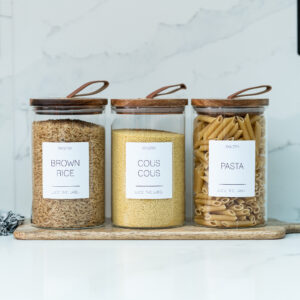 Set of 3 Customisable Glass Canisters with Wooden Lid and Leather Pull