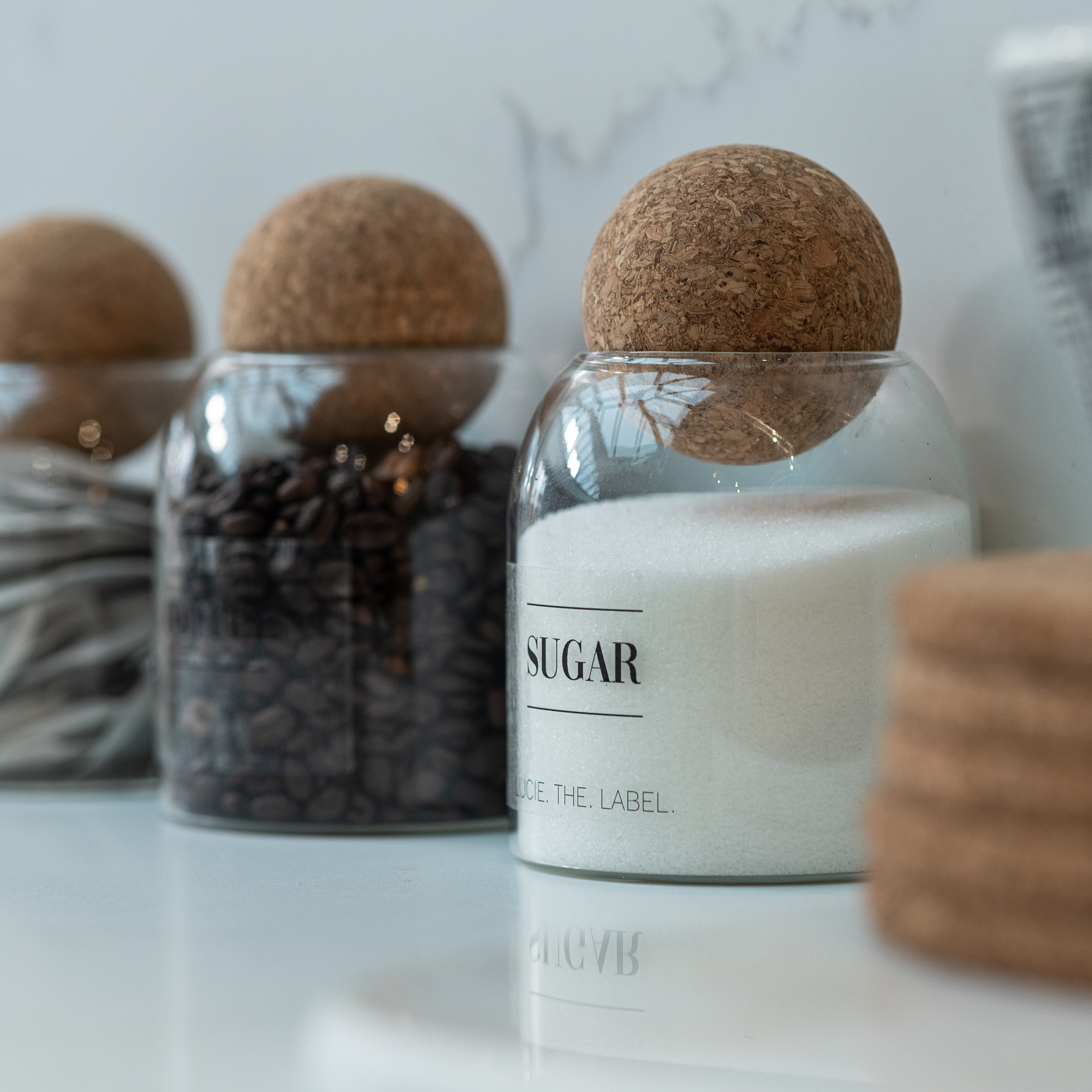 Tea, Coffee Sugar Glass Jar  Set With Cork Ball Lid