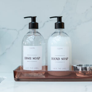 Set of 2 Clear Plastic Pump Bottles Hand Soap and Dish Soap with White Label 500ml