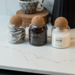 0.8L (MED SIZE) Tea, Coffee Sugar Glass Jar  Set With Cork Ball Lid
