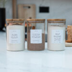 Set of 3 Customisable Glass Canisters with Wooden Lid