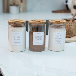 Individual Customisable Glass Canister with Wooden Lid