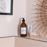 Individual Personalised Amber Glass Pump Bottle with White Label 500ml