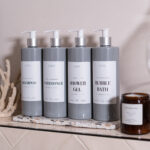 Set of 4 Customisable Luxury Plastic Grey Pump Bottles with White Label 500ml