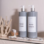 Individual Customisable Luxury Plastic Grey Pump Bottles with White Label 500ml