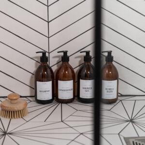 Set of 4 Customisable Luxury Amber Plastic Pump Bottles with White Label 500ml