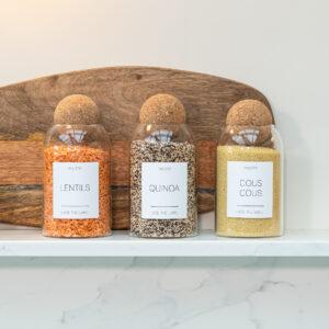 Set of 3 Medium Customisable Glass Jars with Cork Ball Lid