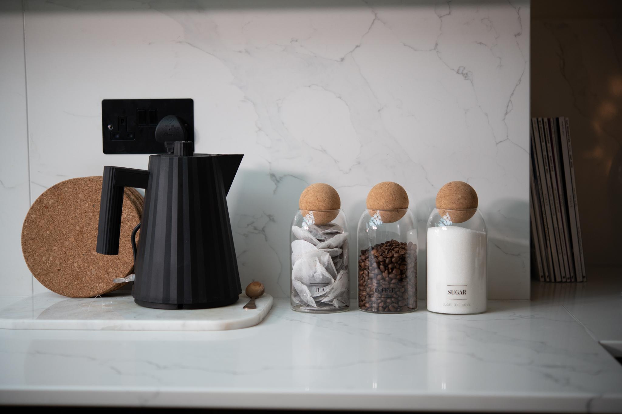 0.8L (MED SIZE) Tea, Coffee Sugar Glass Jar  Set With Cork Ball Lid