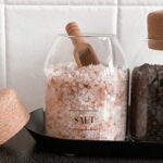 Salt And Pepper Glass Jar Set With Cork Stopper