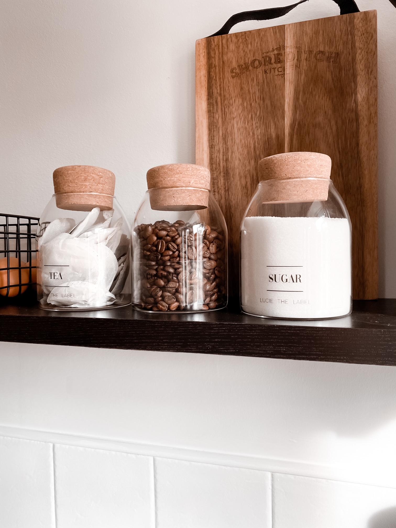 Tea, Coffee Sugar Glass Jar  Set With Cork Stopper