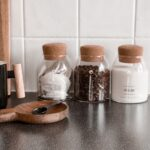 Tea, Coffee Sugar Glass Jar  Set With Cork Stopper