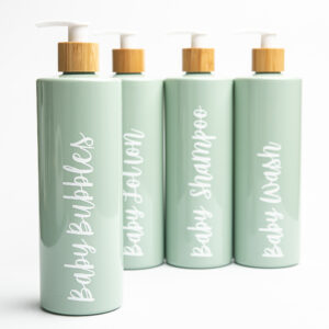 Set of 4 Sage Green Pump Bottles with White Bamboo Pumps