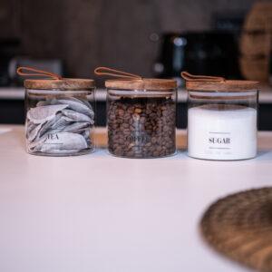 Tea Coffee Sugar Glass Jars with Pull Tab 500ml