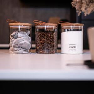 Tea Coffee Sugar Glass Jars with Pull Tab 750ml